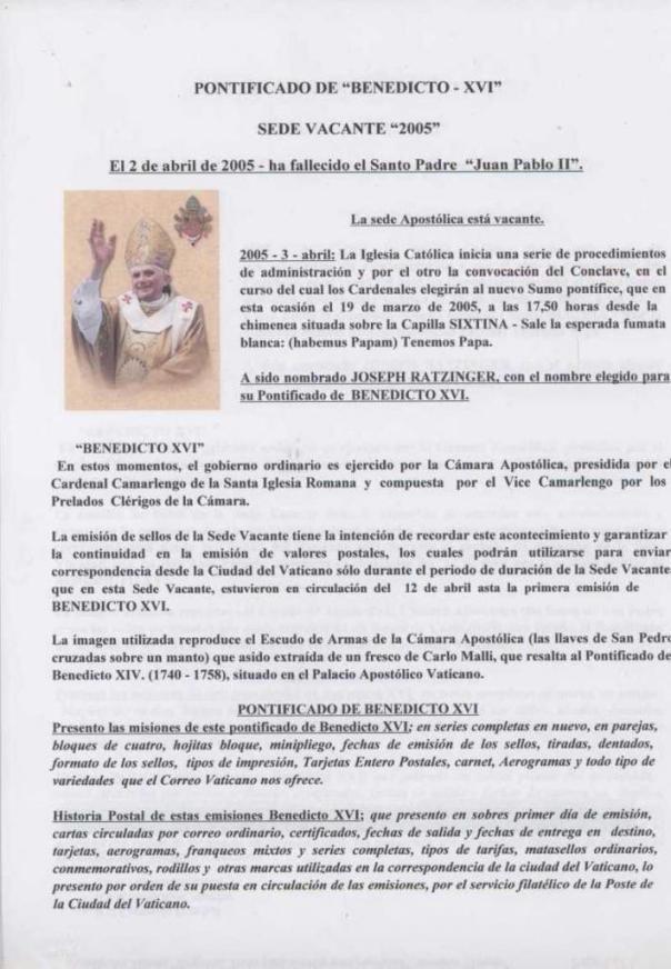 002 - PONTIFICADO DE BENEDICTO XVI