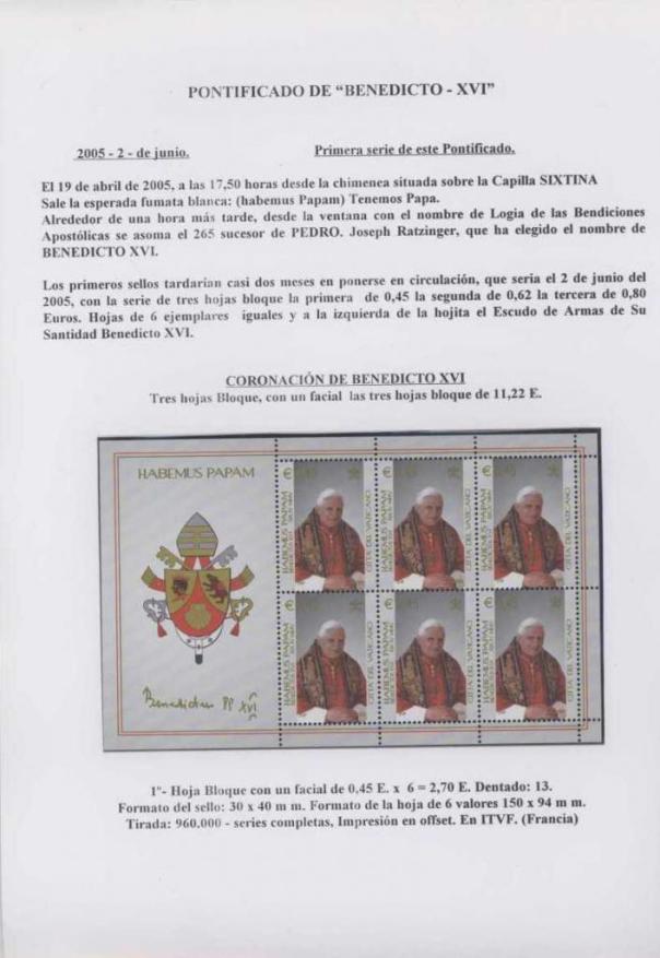 005 - PONTIFICADO DE BENEDICTO XVI