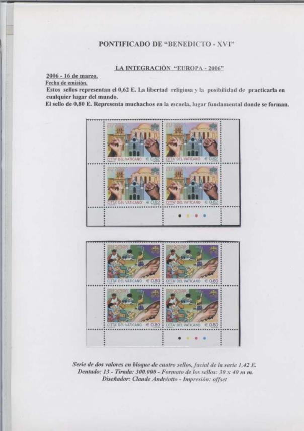 018 - LA INTEGRACIÓN EUROPA 2006 - FECHA EMISIÓN 16 MARZO 2006