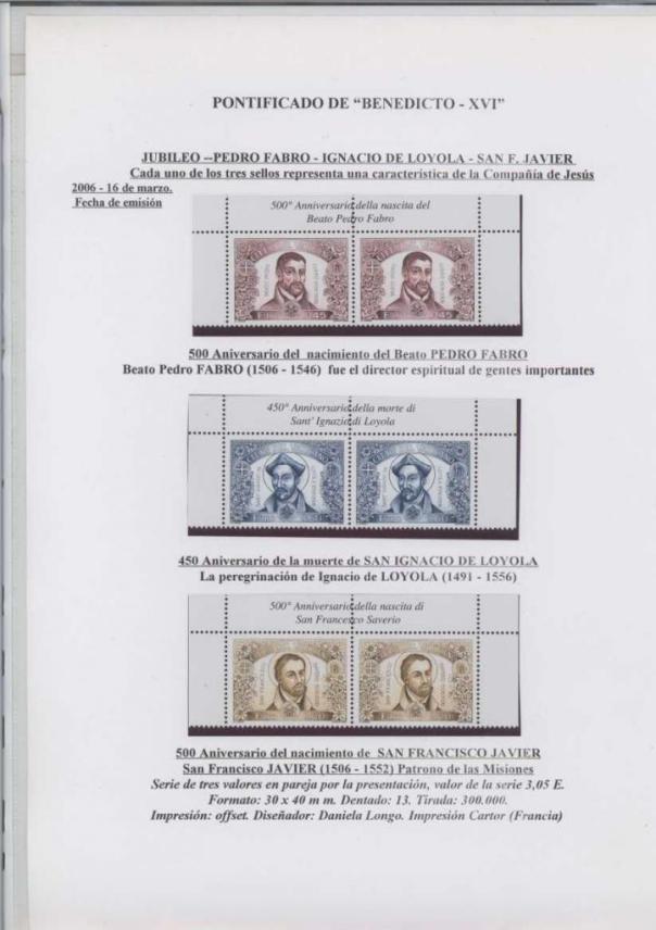 019 - JUBILEO BEATO PEDRO FABRO-IGNACIO DE LOYOLA FECHA EMISIÓN 16 MARZO 2006