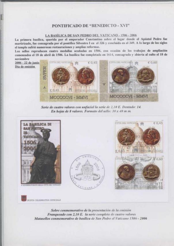 028 - LA BASILICA DE SAN PEDRO DEL VATICANO- FECHA EMISIÓN 22 JUNIO 2006