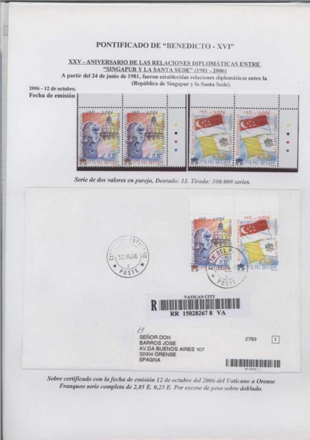 031 - XXV ANIVERSARIO RELACIONES DIPLOMATICAS ENTRE SINGAPUR Y LA SANTA SEDE-12 OCTUBRE 2006