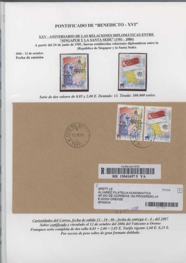 032 - XXV ANIVERSARIO RELACIONES DIPLOMATICAS ENTRE SINGAPUR Y LA SANTA SEDE-12 OCTUBRE 2006 BIS