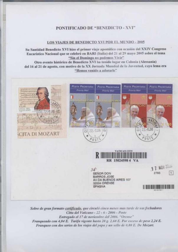 033 - LOS VIAJES DE BENEDICTO XVI POR EL MUNDO-BARI 21 AL 29 MAYO 2005