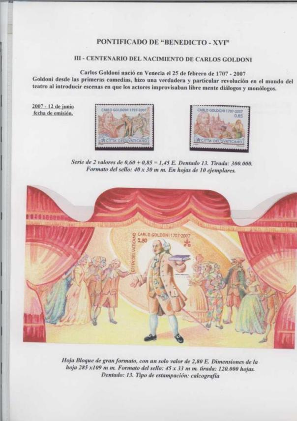 037 - III CENTENARIO DEL NACIMIENTO DE CARLOS GOLDONI-EMISION 12 JUNIO 2007