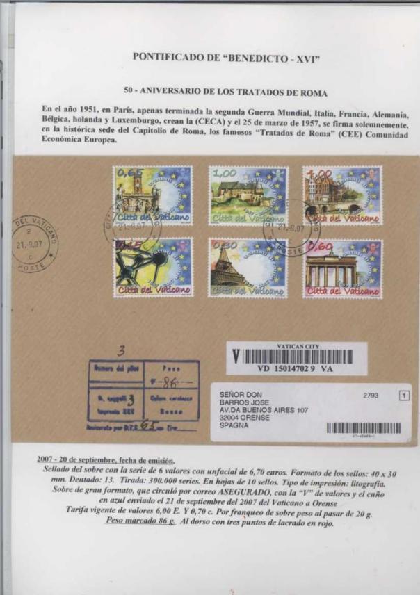 038 - ANIVERSARIO DE LOS TRATADOS DE ROMA - FECHA EMISIÓN 20 SEPTIEMBRE 2007