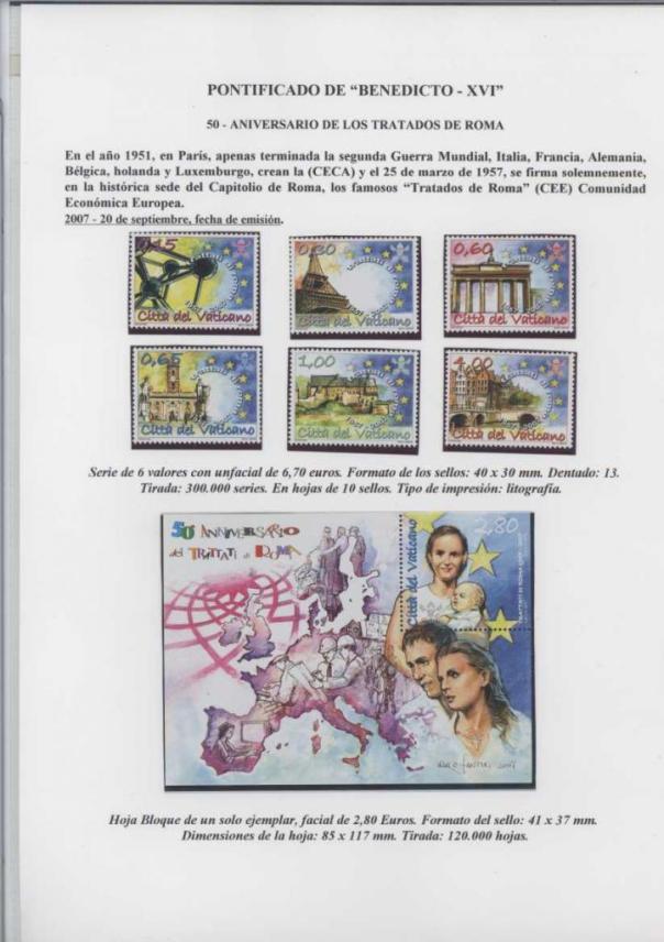 039 - ANIVERSARIO DE LOS TRATADOS DE ROMA - FECHA EMISIÓN 20 SEPTIEMBRE 2007 BIS