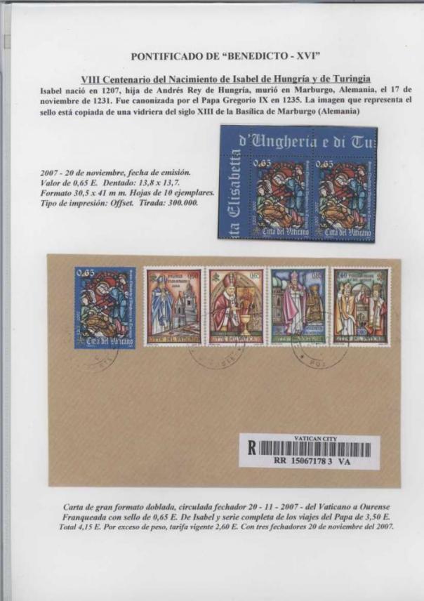 041 - VIII CENTENARIO DEL NACIMIENTO DE ISABEL DE HUNGRIA-EMISION 20 NOV 2007