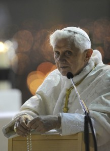 Pope Benedict XVI leads the Rosary at th