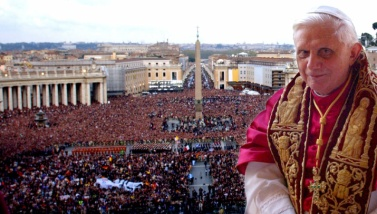 Pope Benedict XVI, Cardinal Joseph Ratzinger of Germany, appears on a balcony of St. Peter's Basilica in the Vatican