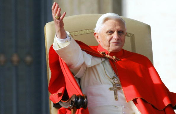 Pope Benedict XVI greets pilgrims and fa