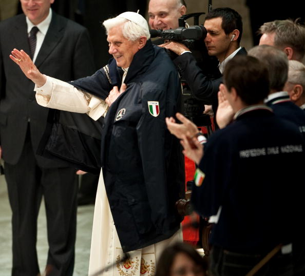 Pope Benedict XVI waves to Italian Civil