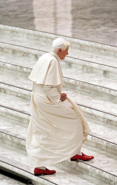 Pope Benedict XVI arrives to meet with t