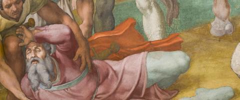 Detalle conversión de San Pablo. Miguel Ángelus, Capilla Paulina del Palacio Apostólico Vaticano.