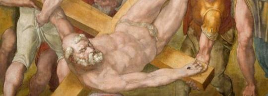 Detalle crucifixión de San Pedro. Miguel Ángelus, Capilla Paulina del Palacio Apostólico Vaticano.