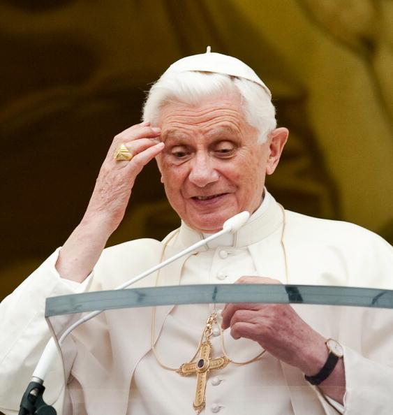 Pope Benedict XVI looks towards pilgrims