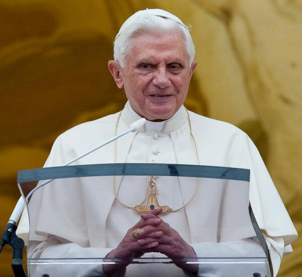 Pope Benedict XVI looks towards pilgrims