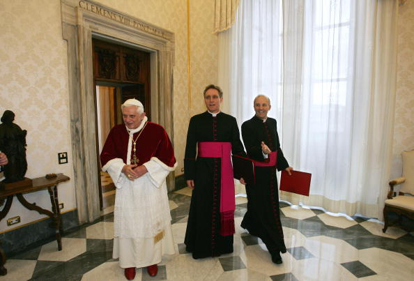 Pope Benedict XVI arrives in the library