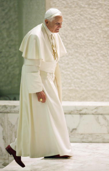 Pope Benedict XVI leaves the Paul VI hal