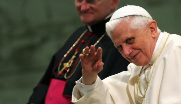 Pope Benedict XVI waves to the faithful