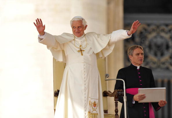 Pope Benedict XVI blesses faithful durin