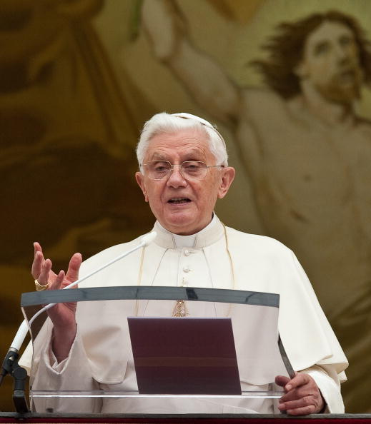 Pope Benedict XVI addresses pilgrims gat