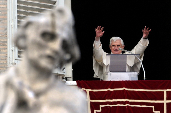 Pope Benedict XVI blesses the faithful during the Angelus prayer in St. Peter's square at the Vatican on February 08, 2009.