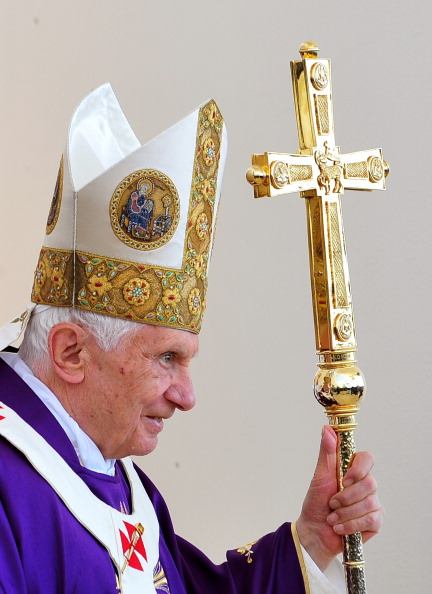 Pope Benedict XVI arrives at the altar a