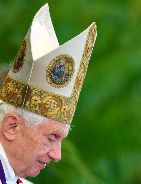 Pope Benedict XVI  leads the holy mass a