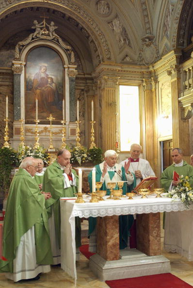 Pope Benedict XVI celebrates a mass duri