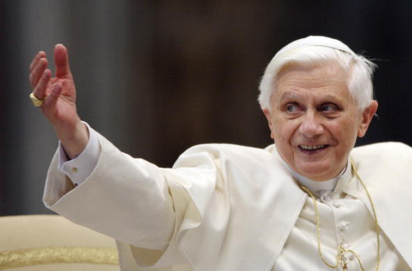 Pope Benedict XVI gestures during his we