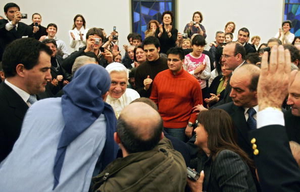 Pope Benedict XVI is greeted by seminari