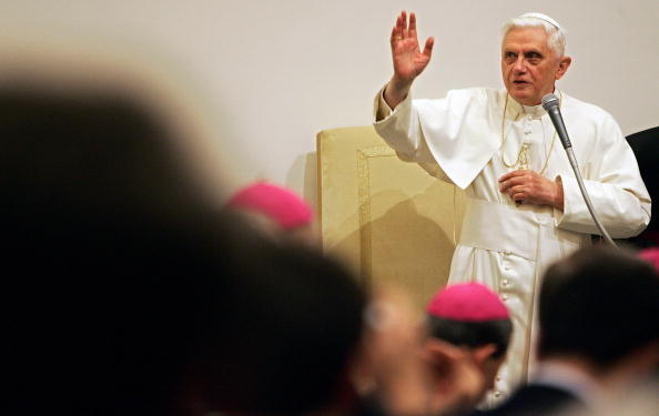 Pope Benedict XVI blesses the faithful a