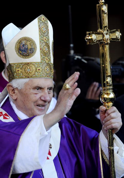 Pope Benedict XVI gestures towards thew