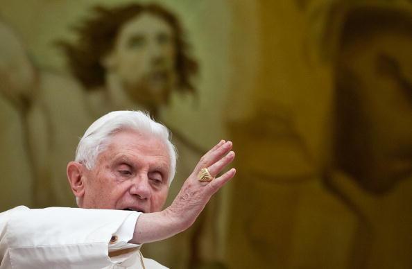 Pope Benedict XVI addresses pilgrims gat