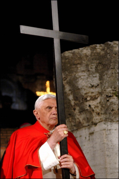 Pope Benedict XVI leads Way of the Cross procession at Rome's Colosseum in Rome, Vatican City on April 14, 2006.