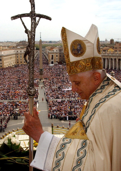 "Pope Benedict XVI celebrated his first Easter Sunday as pontiff and pronounced the ""Urbi et Orbi"" message to the world in Rome, Vatican City on April 16, 2006."