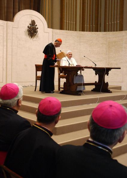 Pope Benedict XVI looks on, as he is fla