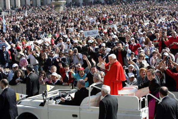 Pope Benedict XVI greets pilgrims and fa