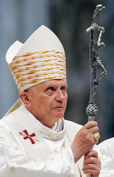 Pope Benedict XVI looks at his pastoral