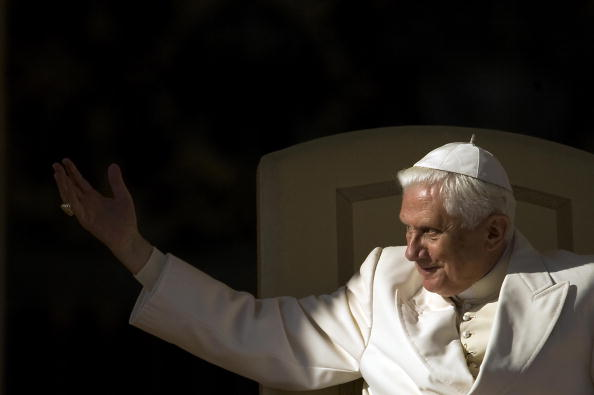 Pope Benedict XVI greets faithful during