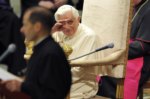 Pope Benedict XVI waves during his weekl