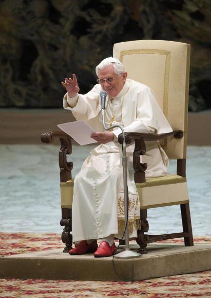 Pope Benedict XVI gestures during his we