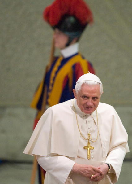 Pope Benedict XVI arrives for his weekly