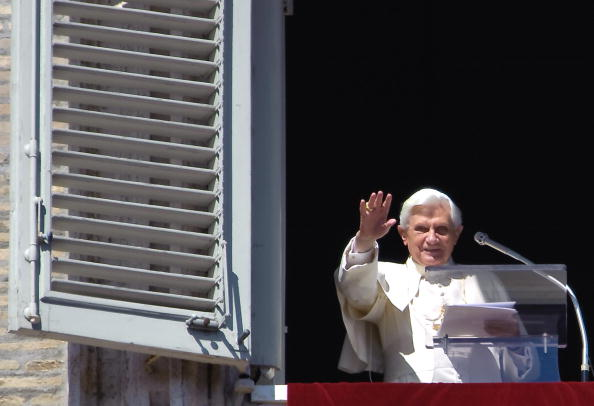Pope Benedict XVI salutes during his Sun