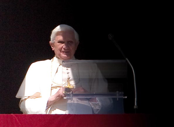 Pope Benedict XVI pauses during his Sund