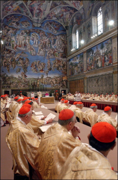 Pope Benedict XVI started his first day in office celebrating a mass in the Sistine Chapel with cardinals who elected him as leader of the world's 1.1 billion Roman Catholics in Rome, Italy on April 20, 2005.