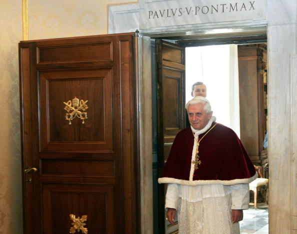 Pope Benedict XVI arrives to greet Togol