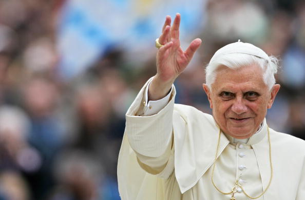 Pope Benedict XVI blesses the pilgrims a