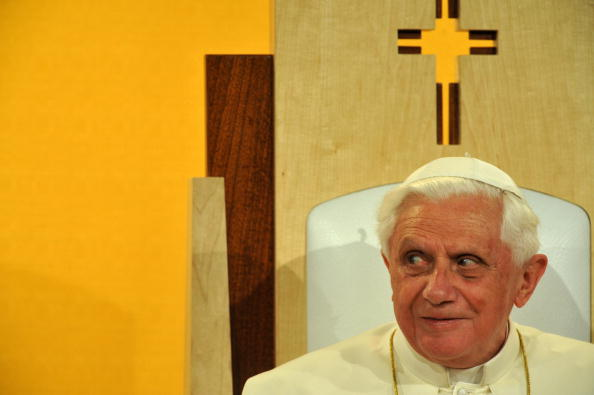 Pope Benedict XVI attends a meeting of i